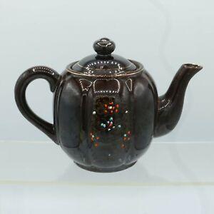 Redware Brown Betty Teapot Moriage Enamel Floral Gold Trim 1950s Wales Japan Vtg