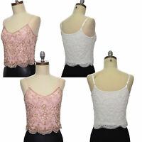 Embellished top camisole sequins beaded cami scallop hem UK size 6 8 10 12 14