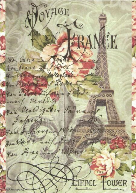 Rice Paper for Decoupage Scrapbook Craft Sheet - Vintage Tour Eiffel