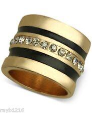 NWT Guess Gold Metal & Black Enamel Clear Rhinestone Band Ring, Size 7