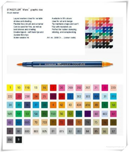 5pcs//pack Twin 075 BSTRE Staedtler Mars Graphic 3000 Brush Marker