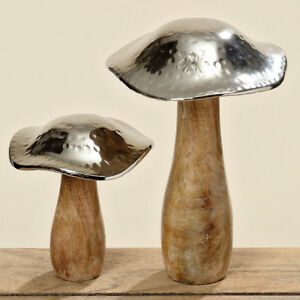 Deko Pilz.Details Zu Deko Objekt Pilz Pilze 2 Stück 14 21 Cm Skulptur Holz Braun Silber Dekopilz