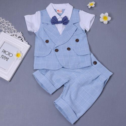 Baby Boys Gentleman Tuxedo Wedding Romper T-shirt Shorts Pants Bow Tie 2PCS Suit