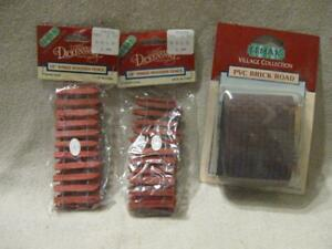3 Retired Lemax Christmas Village Accessories Wooden Picket Fence & PVC Road