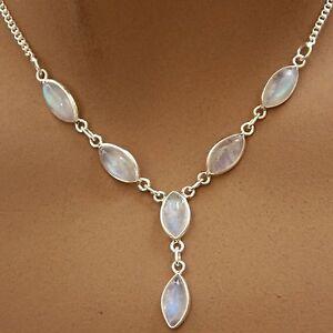 Mondstein-Collier-Kette-Silber-925-Sterlingsilber-Edelsteine-40-cm-Halskette-tsn