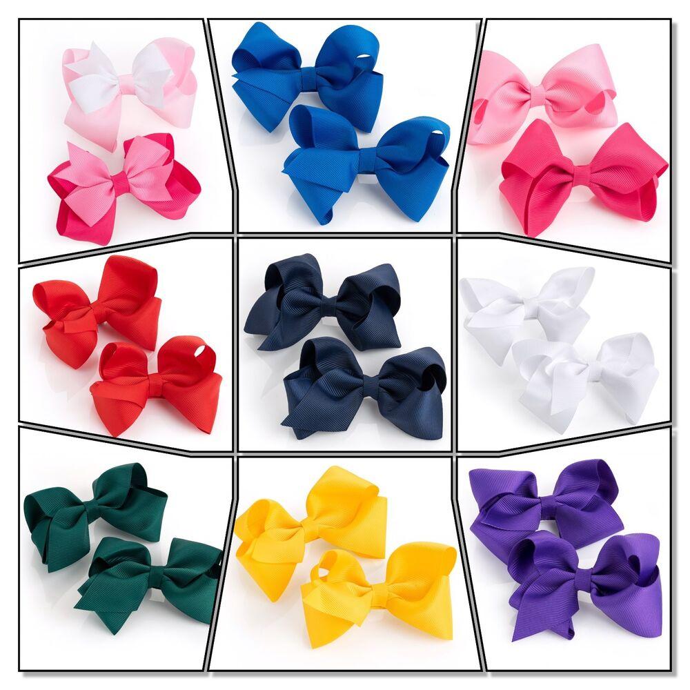 Adaptable Hair Bow Filles Clips School Ruban Diapositives Kit Accessoires Filles Bow School Clip Uk Correspondant En Couleur