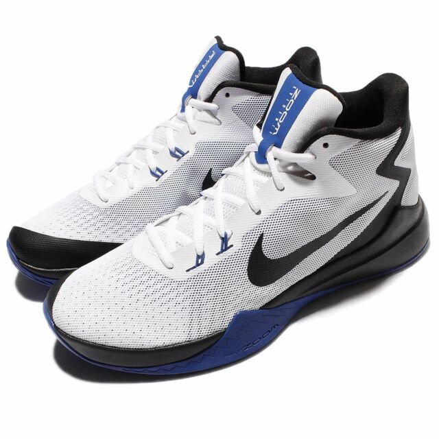 aa562fbba6d3 Nike Zoom Evidence White Black Blue Men Basketball Shoes Sneakers 852464-104