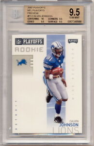 2007 Playoffs Preview #P3 Calvin Johnson Rookie Card Graded BGS 10-9.5-9.5-9.5