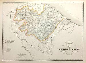 Cartina Geografica Provincia Di Pesaro Urbino.1868 Carta Geografica Vallardi Provincia Pesaro Urbino Fano Mondolfo Fagli Ebay