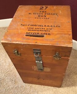 Vtg Ballot Box Large Wood Election Voting Rustic Table Mesa Cty CO Denver 23""