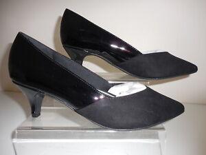 Black Kitten Heel Court Shoes Size UK 7