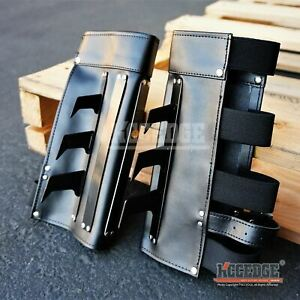 BATMAN DARK KNIGHT Gauntlets ONE PAIR Martial Arts Leather Arm Cuff with Metal S