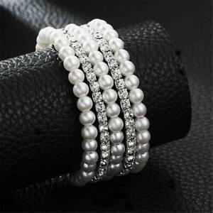 Women-Pearl-Crystal-Rhinestone-Stretch-Bridal-Bracelet-Bangle-Wristband-Wedding