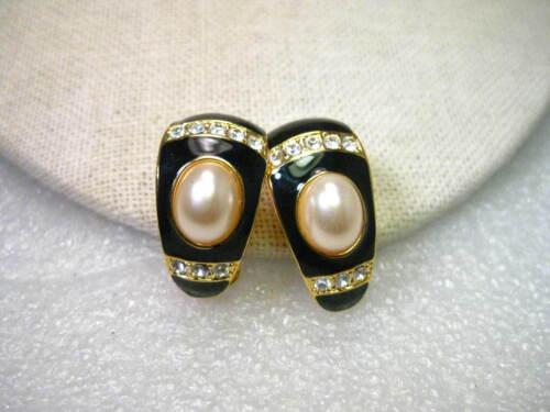 Vintage Joan Rivers Black Enameled, Faux Pearl Hal