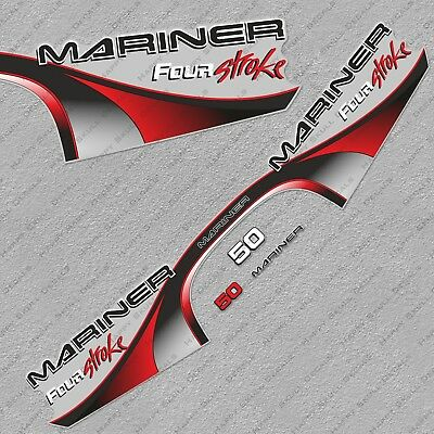 Mariner 50 HP four stroke outboard engine decal sticker set kit reproduction