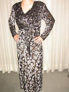 Kleid Abendkleid Partykleid Lang Gr L Vintage Samt Ausbrenner Schwarz Blau Grau Ebay