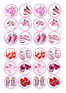 24 Bebé Niñas Zapatos Cupcake Topper Helado Glaseado Comestible Hada Cake Toppers