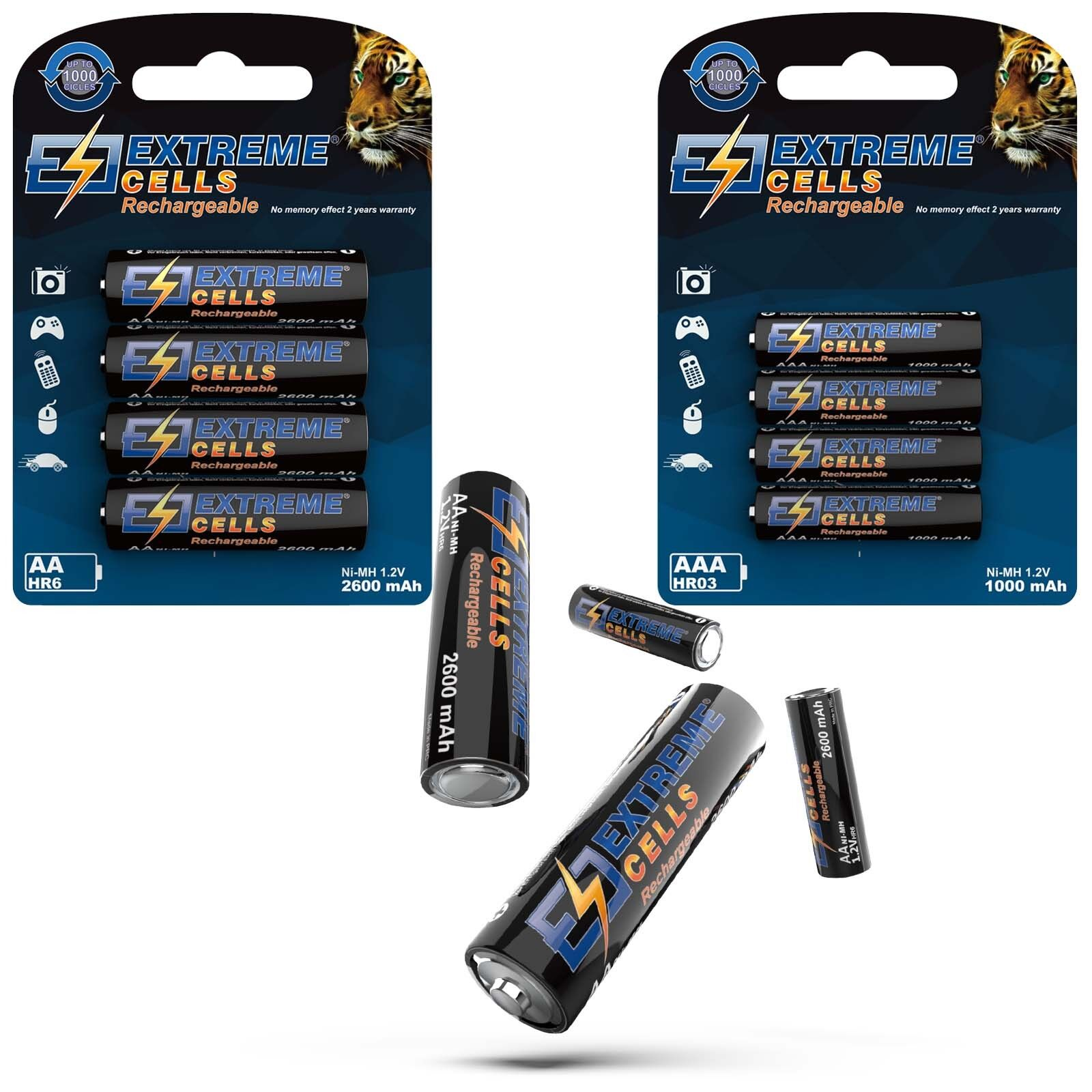Extremecells Mignon Aa HR6 & Micro AAA HR03 Batteries Nimh Rechargeable