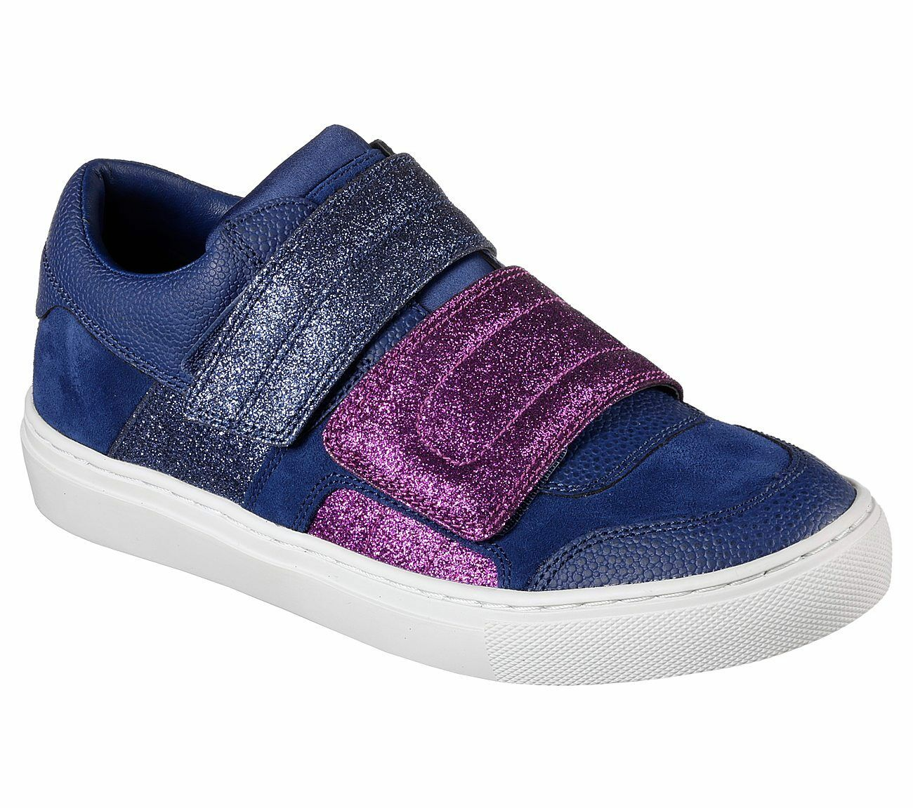 New Womens Glitter shoes Fashion Casual Sneakers 6.5 bluee Purple Velcro Skechers
