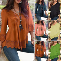 Plus Size Women Casual Long Sleeve Lace Shirts Loose Blouse T Shirt Tops Vintage