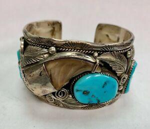 Rare-Armband-Native-American-Navajo-aus-Silber-Tuerkis-und-Klaue-Baer-Ghomas