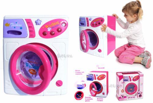 LAVATRICE GIOCATTOLO ROSA LAVA ASCIUGA con luci CM 24 X 19 giocattolo bambina