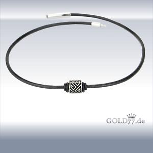 Lederkette Lederhalsband schwarz mit Firestone-Beads//Perlen Edelstahl 40-50cm