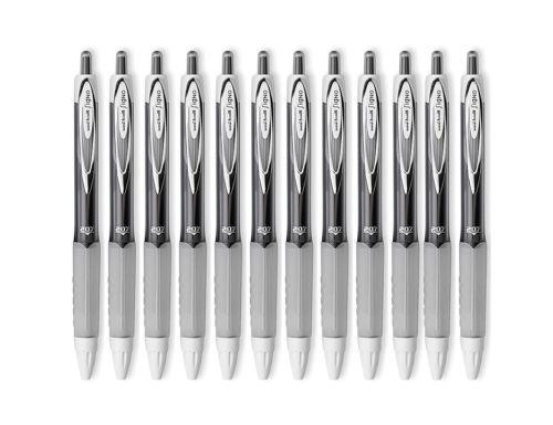 Medium Point 0.7mm Black Uni-ball Signo 207 Retractable Gel Pens 12 Count