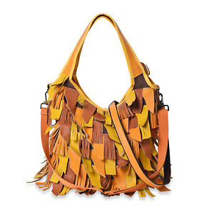 CHAOS BY ELSIE Yellow Faux Leather Tassel Hobo Bag Handbag with Shoulder Strap