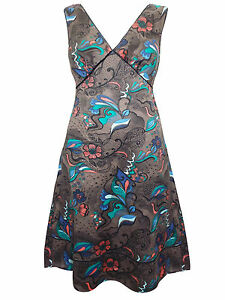 Ladies-BLOOM-printed-SUMMER-DRESS-Pure-COTTON-brown-FLORAL-SIZES-10-TO-18