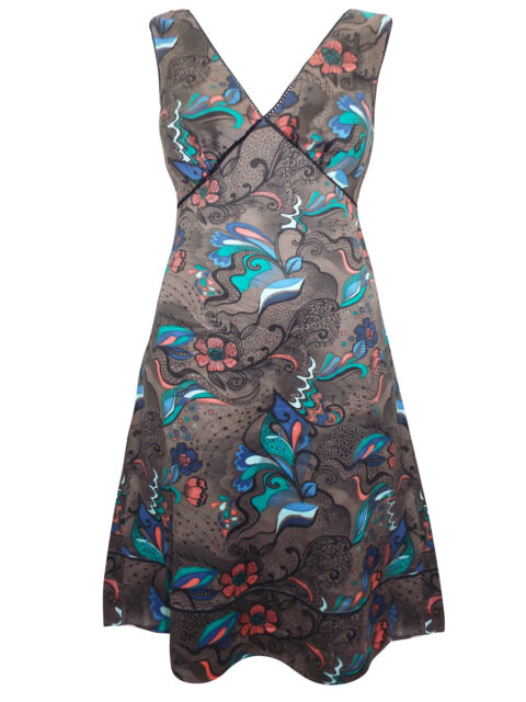 BLOOM LADIES PRINTED SUMMER DRESS PURE COTTON BROWN FLORAL . SIZES 10 TO 18