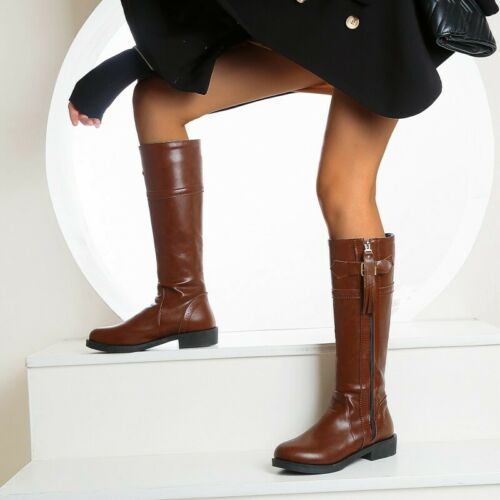 Details about  /Women Mid-calf Boots Round Toe Chunky Low Heel Outdoor Casual Punk Shoes 44//48 D