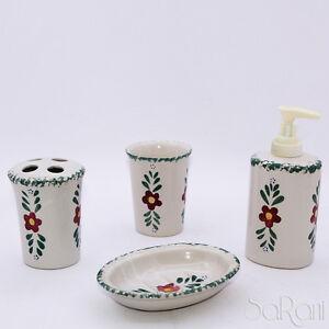 Accessori Bagno Colorati.Dettagli Su Set Accessori Bagno 4 Pezzi Ceramica Portasapone Erogatore Floreale Colorato Kit