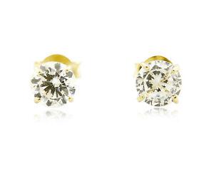 mirada detallada df656 acd91 Details about Canasta de Oro Amarillo Solido de 14 Kilates Aretes de  Diamanted Simulado 4mm de