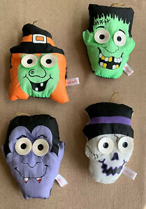 Vintage-Halloween-Peepers-ornaments-SET-of-4-Nylon-Plush