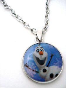Disney Frozen Olaf Necklace Anna & Elsa Snowman Best Friend Oval Pendant NWT