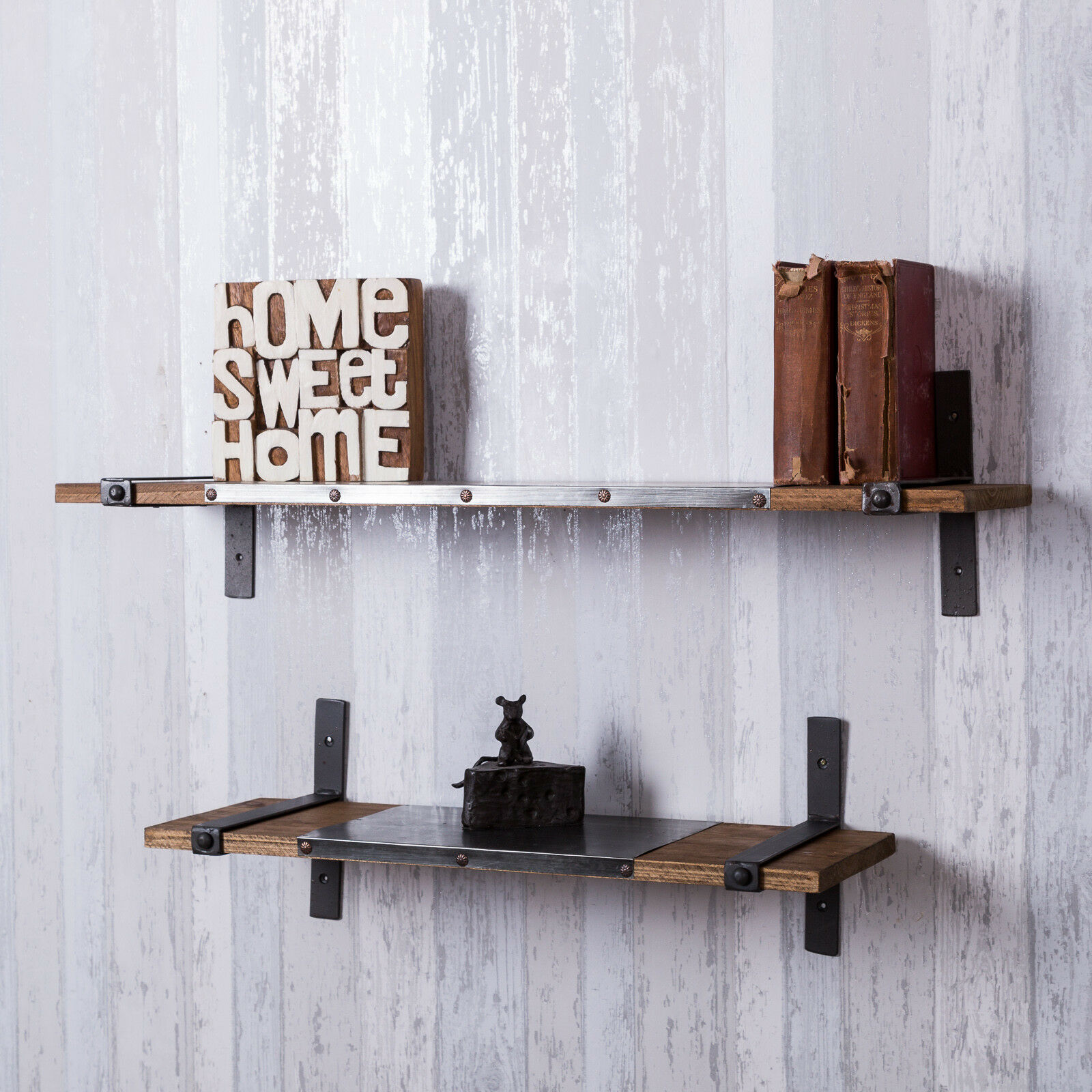 Set of 2 industrial style wall shelves wood metal retro rustic warehouse urban