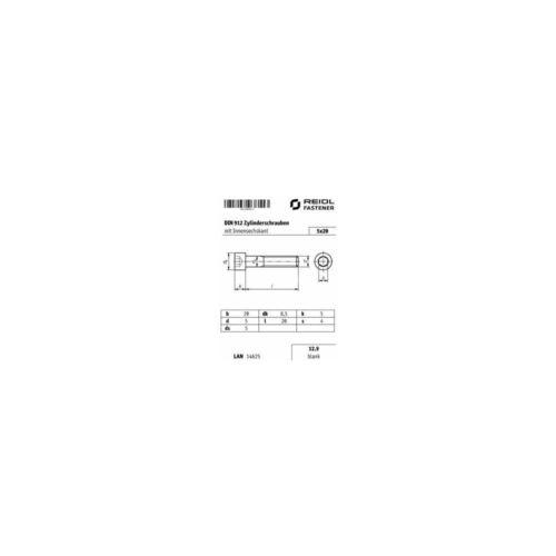 12.9 blank Innensechskant M5 x 20 10x DIN 912 Zylinderschraube