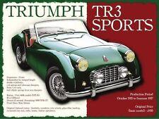 Triumph TR3 Classic British Sports Car Retro Vintage Old Small Metal/Tin Sign