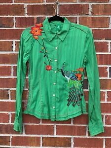 Johnny-Was-3J-Workshop-Embroidered-Peacock-Floral-Asian-Shirt-Size-Small-Blouse