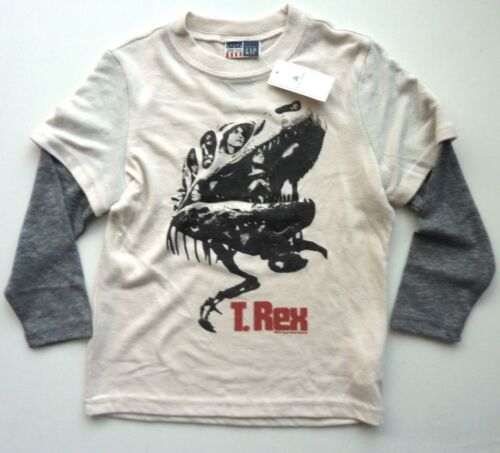 GAP Boys IVORY Junk Food T REX Dinosaur Long Sleeved T-shirt Top 3y 4y £14.95