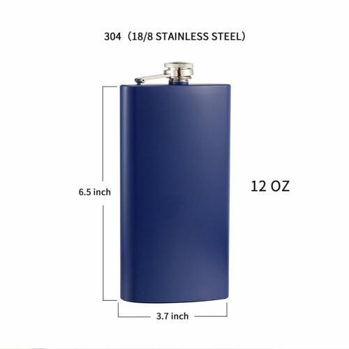 New Hip Flask 12oz Matt Blue Flasks Stainless Steel for Liquor with Funnel