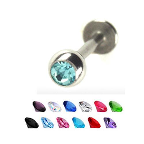 1,6mm Labret Ohr Lippen Piercing Schmuck Kristall Kugel viele Farben L:6-12mm