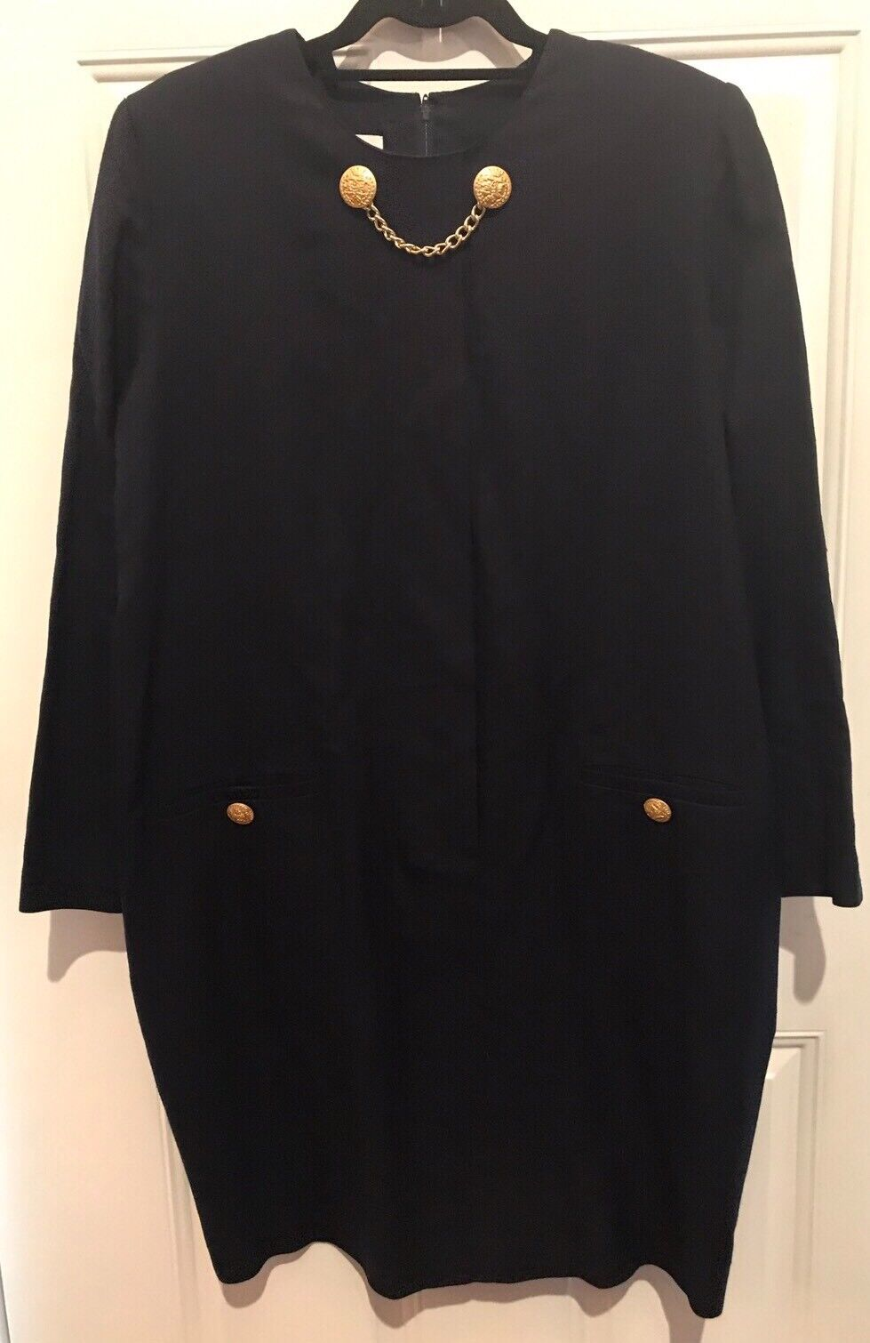 A Pea in the Pod Maternity Dress Size Medium Navy With gold Buttons Chest 44