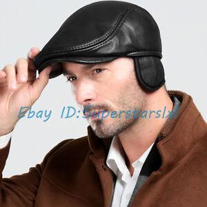 e7a16c2ceb736 Vogue Men s Leather Beret Hat Newsboy Hats Golf Caps Winter Warm Fur ...