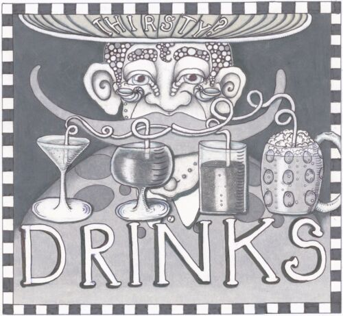 "HOME BAR NEW ORLEANS ARTIST Jamie Hayes /""DRINKS/""  FINE ART GICLEE PRINT"