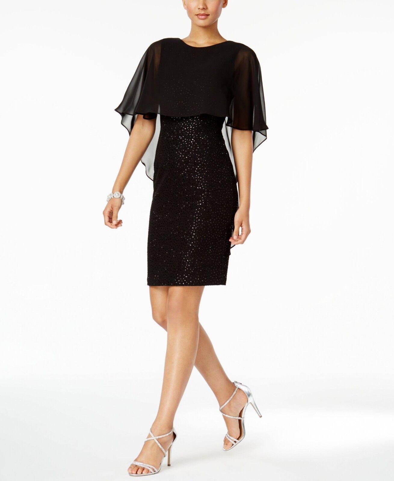 Betsy & Adam Cape Sheath Dress Size 4  B543 MSRP  179.00.