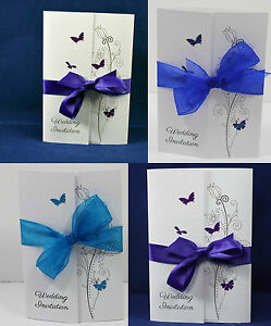 Image Is Loading Gatefold Wedding Invitations  Butterflies Handmade Personalised Ribbon Envelope