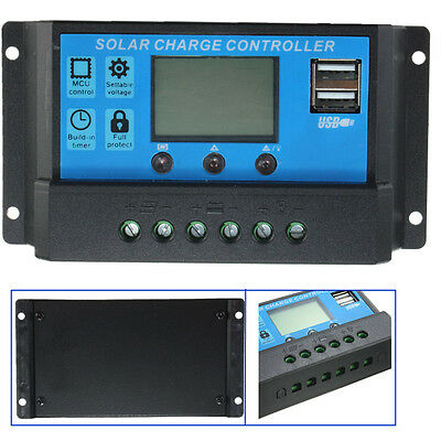 Intelligent 20A 12V-24V LCD Display Solar Charge Regulator Controller & USB UK