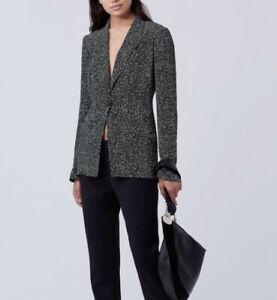 DIANE VON FÜRSTENBERG black Charlotte paint splash jacket  - size UK 10 - NEW
